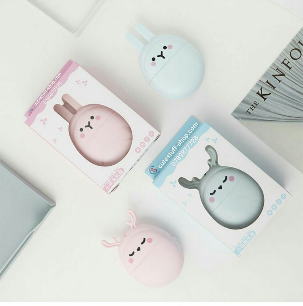 Quạt sạc pin mini cầm tay thỏ và tuần lộc