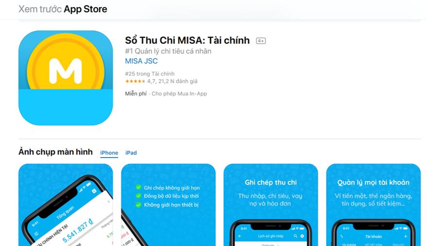Sổ thu chi Misa trên Appstore