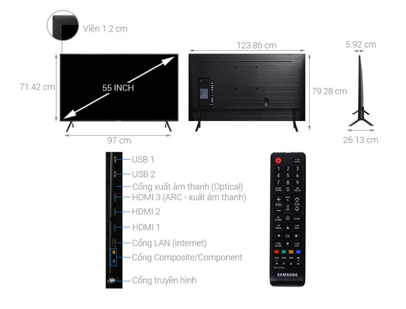 Smart tivi samsung 55nu7100 kiểu dáng hiện đại và bắt mắt