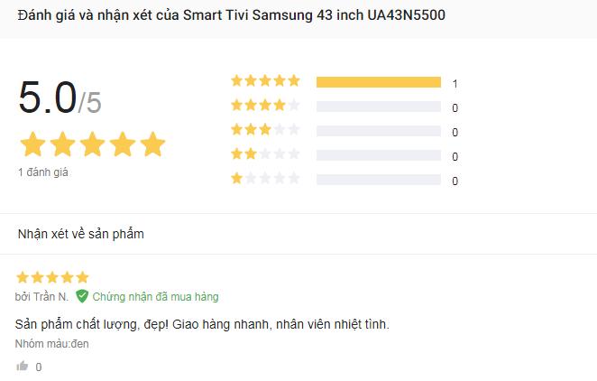 danh gia Smart Tivi Samsung 43 inch UA43N5500