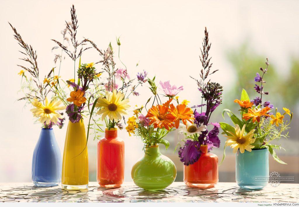 nhiều bình hoa đẹp mắt cho phòng ấm cúng hơn