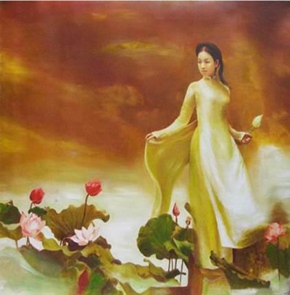 phụ nữ bên hoa sen đẹp