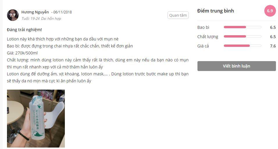 Đánh giá của khách hàng về Dokudami Lotion diếp cá