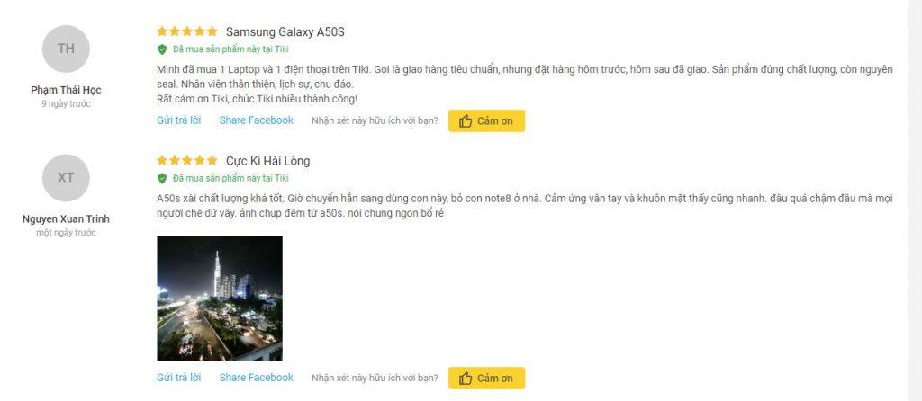 Đánh giá về sản phẩm Samsung Galaxy A50s