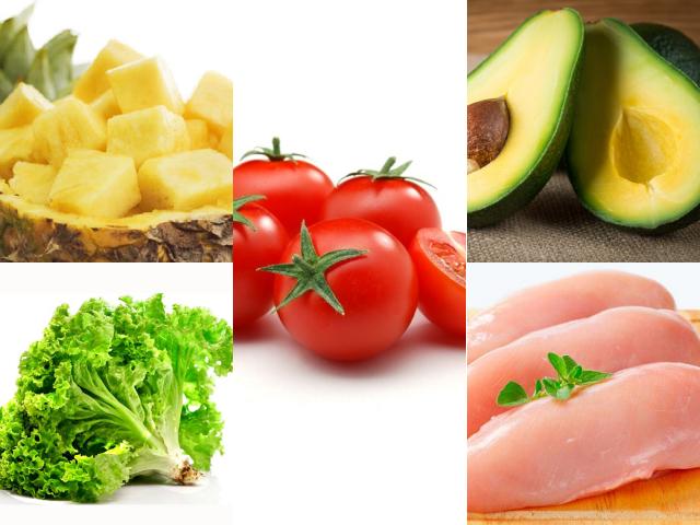Các nguyên liệu cho món salad ức gà