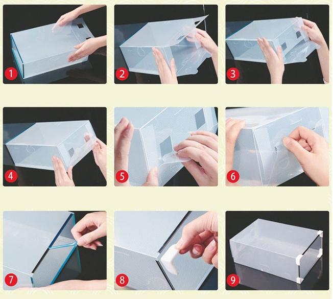Hình thức và cách sử dụng hộp đựng giày trong suốt có ngăn kéo viền kim loại