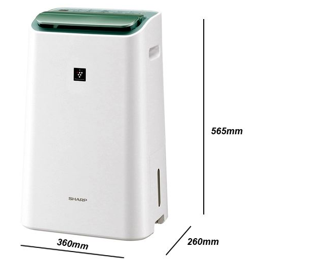 Kích thước của máy lọc không khí và hút ẩm Sharp DW E16FA W (3L) – Trắng