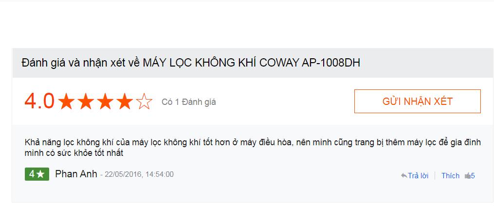 Người dùng tại Nguyễn Kim đánh giá về máy lọc không khí Coway AP 1008DH