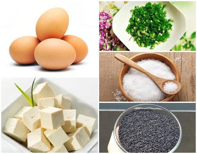 Nguyên liệu để làm món trứng hấp tàu hũ