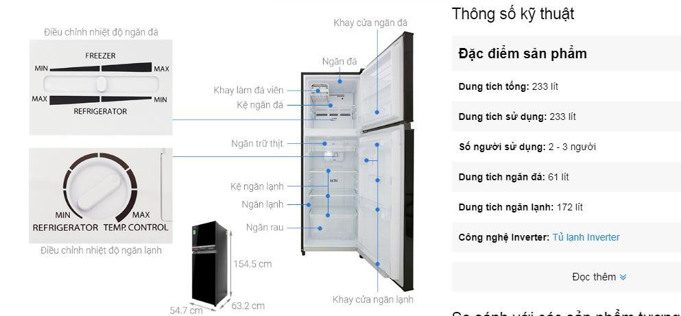Tủ lạnh có ngăn đông mềm Toshiba Inverter 233 lít bán chạy nhất hiện nay