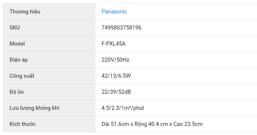 Thông số chi tiết của máy lọc không khí Panasonic F PXL45A