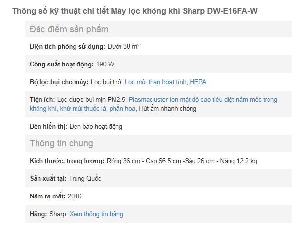 Thông số chi tiết của máy lọc không khí và hút ẩm Sharp DW E16FA W (3L)