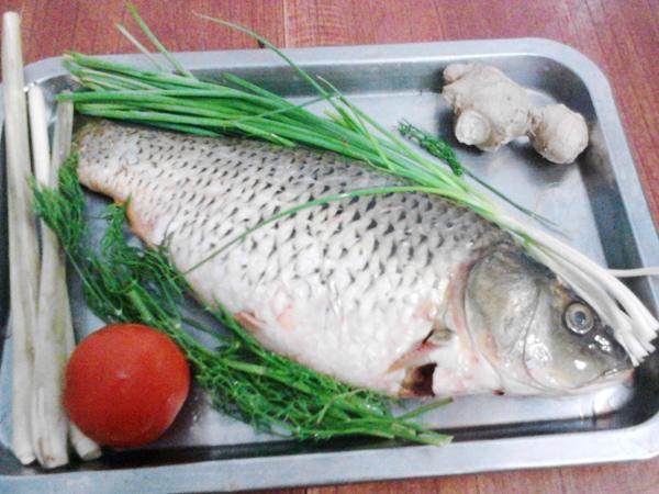 Cá chép rửa sạch, khứa thớ để dễ thấm gia vị vào thịt cá.
