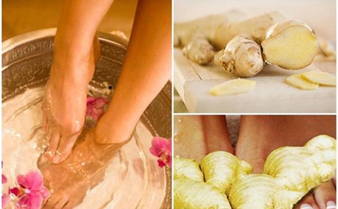 Ngâm chân nước muối gừng ấm mang lại nhiều lợi ích sức khỏe.