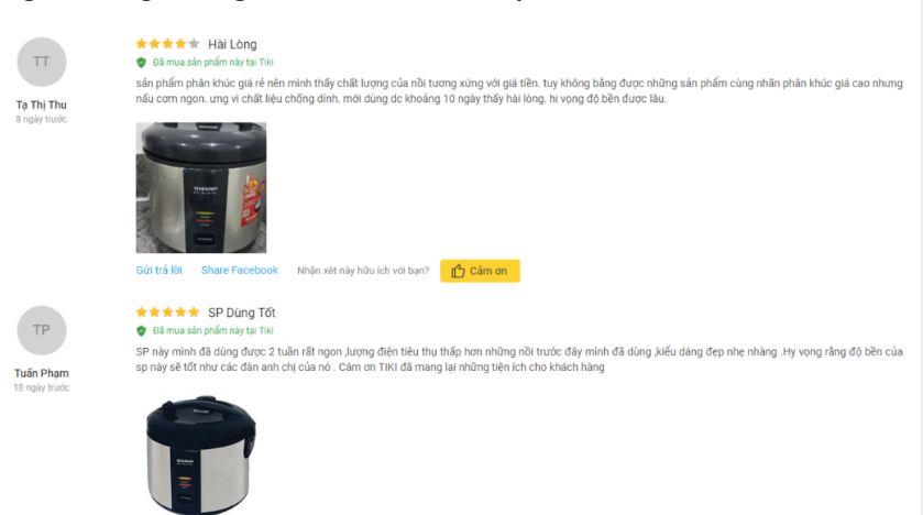 Người dùng Tiki đánh giá về sản phẩm đã mua