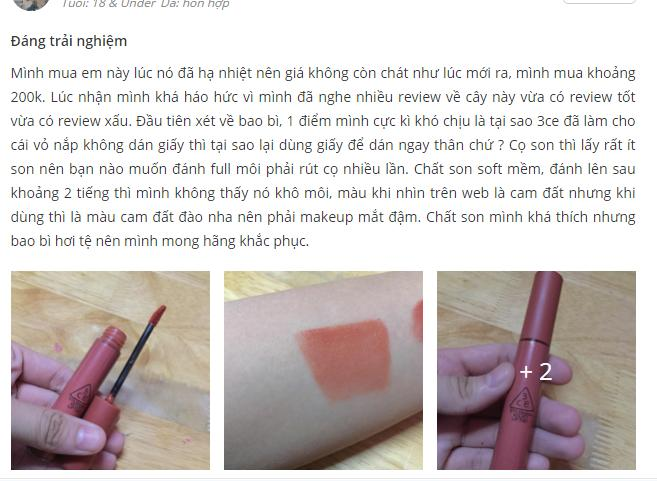 Review Son 3CE Velvet Lip Tint