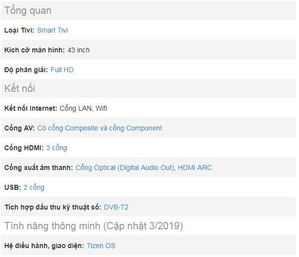 Thông tin tổng quan về sản phẩm tivi Samsung 43N5500