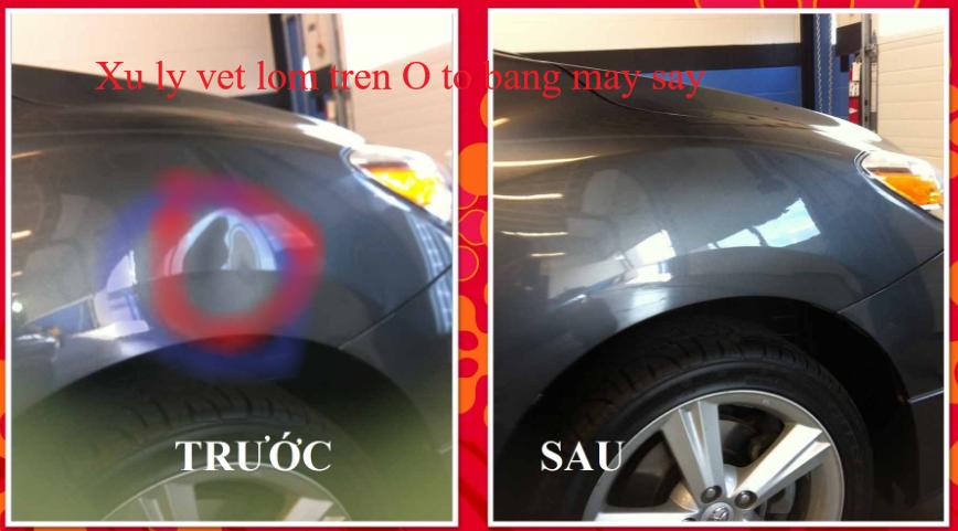 Xoá vết lõm trên ô tô bằng máy sấy tóc