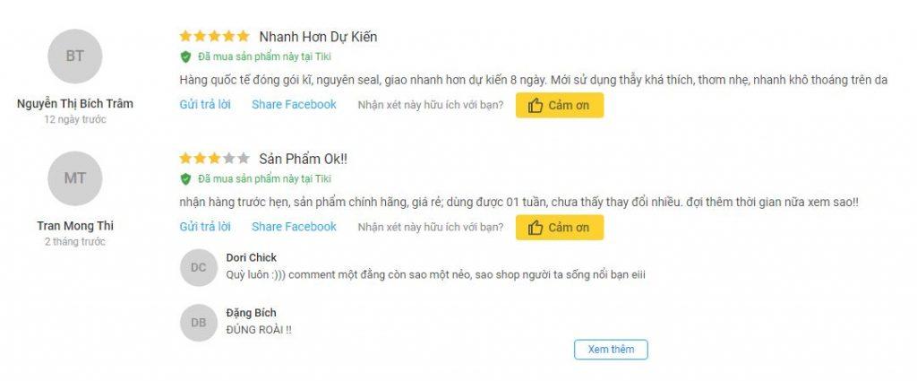 Người mua hàng trên Tiki đánh giá về sản phẩm đã mua