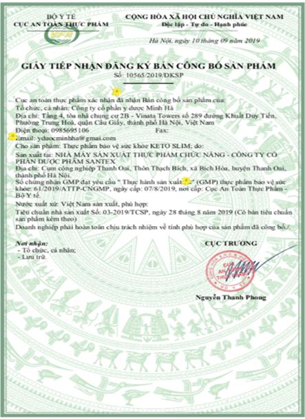 giấy chứng nhận an toàn Keto Slim