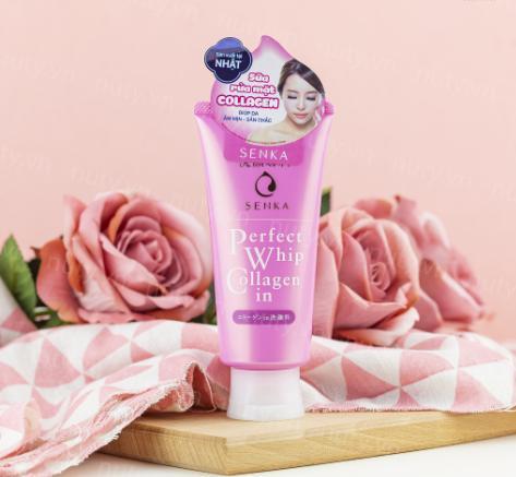 review sữa rửa mặt senka hồng