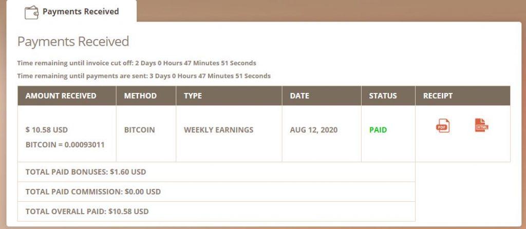 Bằng chứng Timebucks trả tiền