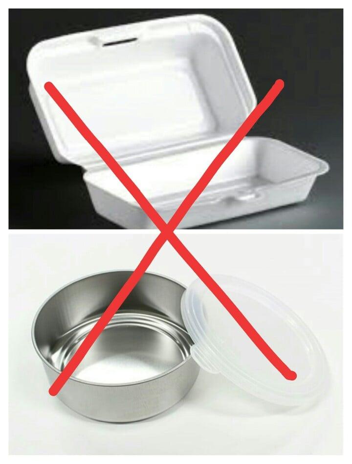 Các loại hộp không dùng trong lò vi sóng
