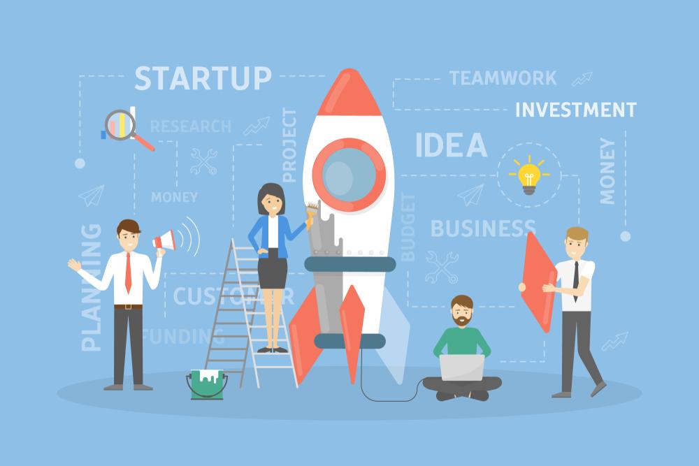 Startup concept illustration. People building rocket and business.