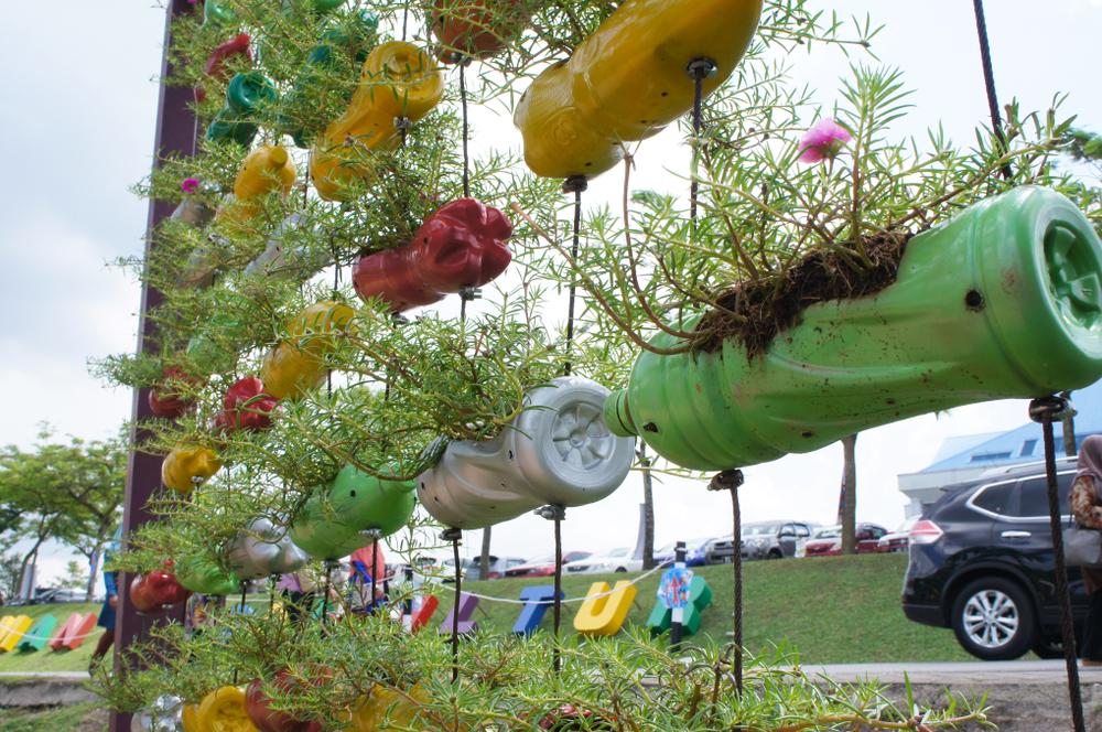 vertical bottle garden