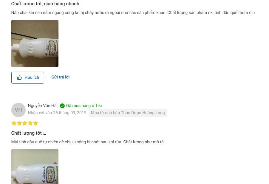 rew người dùng về thảo dược rửa chén Total Care 500ml