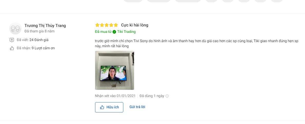Nhận xét khách hàng về Smart Tivi Sony 49 inch