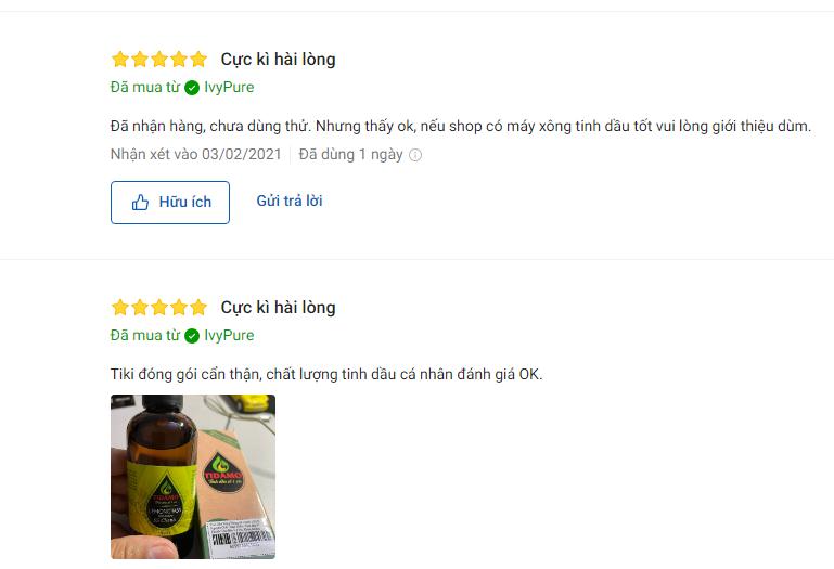 Review khách hàng về tinh dầu xông phòng Sả Chanh