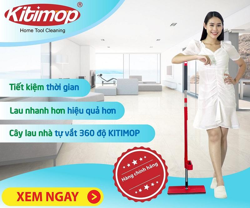 Cây lau nhà Kitimop Red có thiết kế thông minh tự vắt khô nước