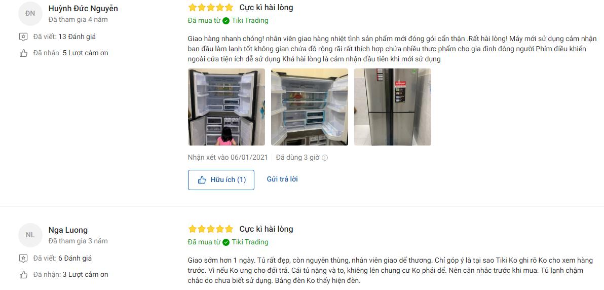 Đánh giá khách hàng về tủ lạnh Sharp Inverter 556L SJ FX631V SL