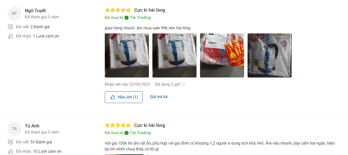 Đánh giá khách hàng về Ấm siêu tốc Inox SUNHOUSE HAPPY TIME HTD1055