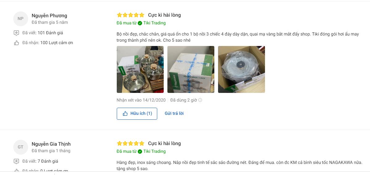 Đánh giá người mua về bộ 3 nồi inox 4 đáy Nagakawa NAG1306