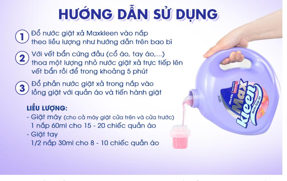Cách sử dụng Nước giặt xả MaxKleen