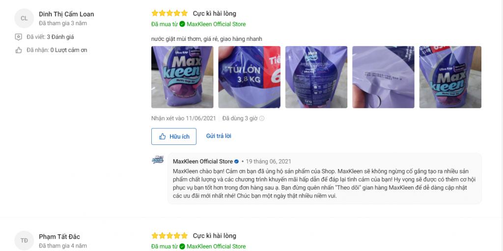 Nhận xét khách hàng về nước giặt xả Maxkleen hương huyền diệu