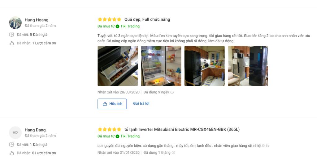 Nhận xét người mua về tủ lạnh Mitsubishi 365 lít