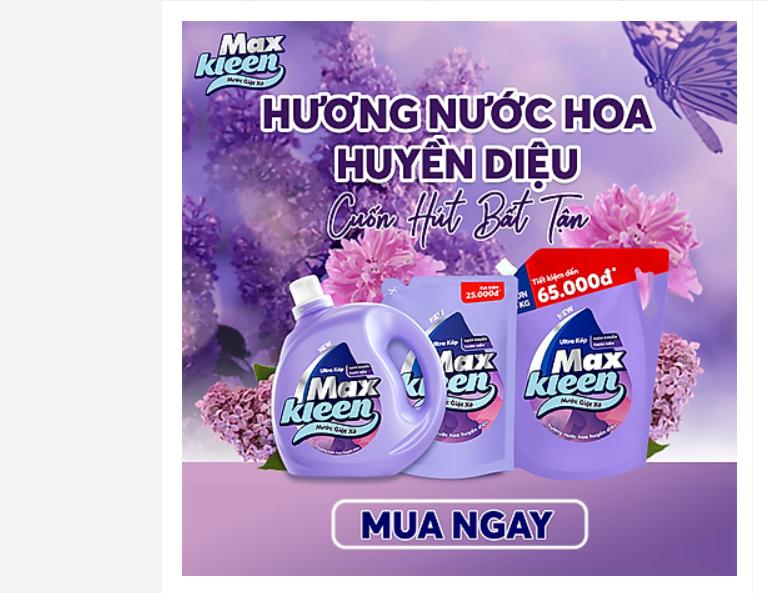 Nước giặt xả Maxkleen hương nước hoa huyền diệu