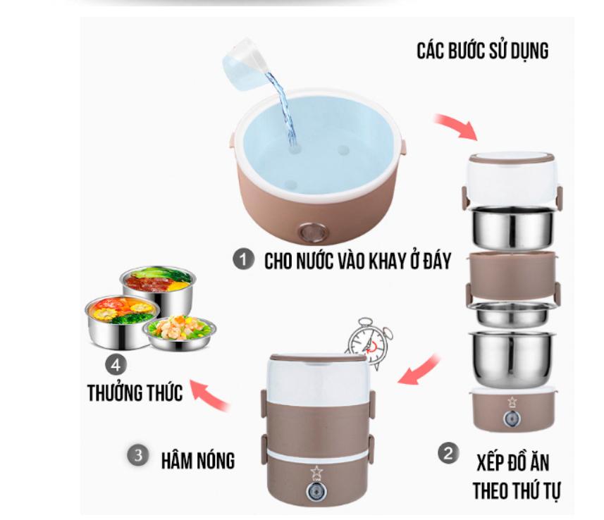 Cách dùng hộp cơm giữ nhiệt cắm điện inox 3 tầng model B16 200