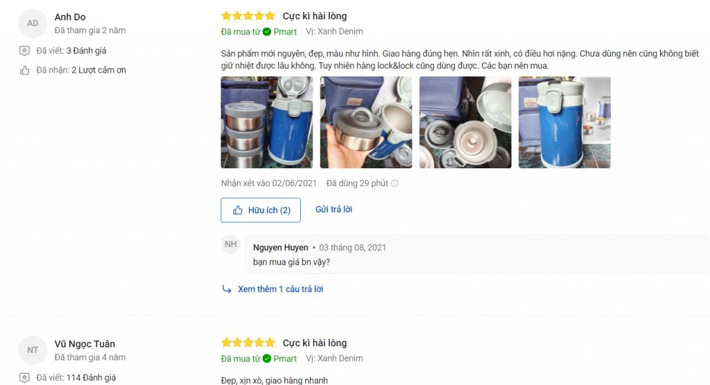 Đánh giá người mua về hộp cơm giữ nhiệt Lock&Lock Easy Carry 2L LHC8039