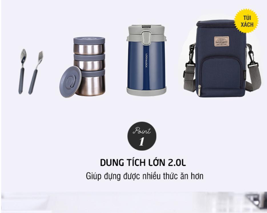 Hộp cơm giữ nhiệt Lock&Lock Easy Carry 2L LHC8039