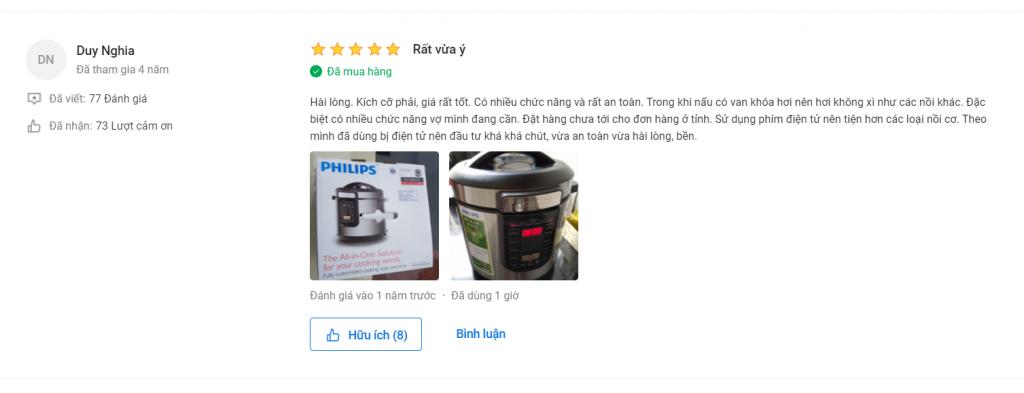 Nhận xét người dùng về nồi áp suất Philips HD2137 6 L