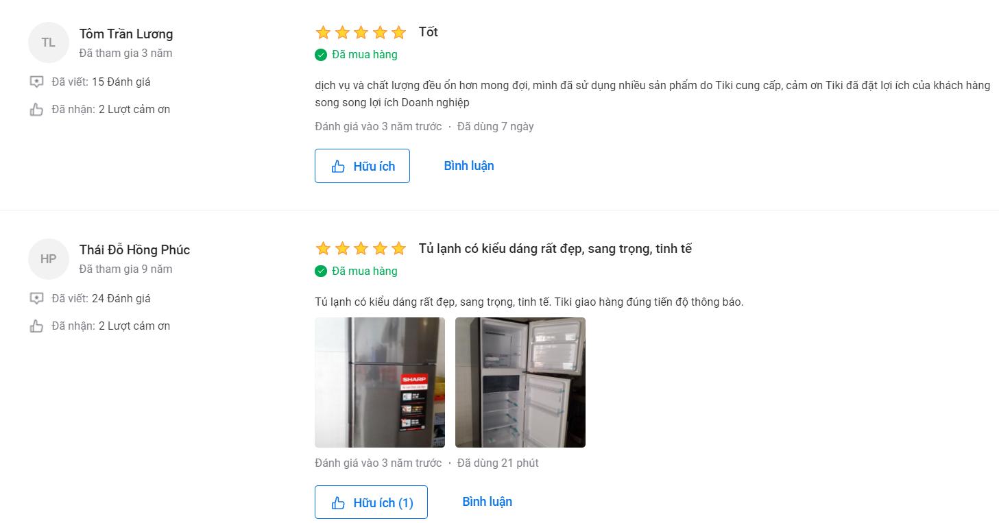 Nhận xét người mua về tủ lạnh Inverter Sharp SJ X346E SL