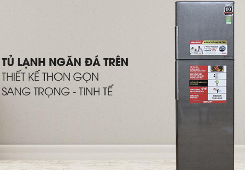 Tủ Lạnh Inverter Sharp SJ X346E SL có thiết kế đơn giản nhưng đẹp